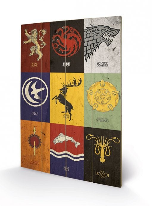 Sigils - Game of Thrones - Holzdruck 40 x 60 cm