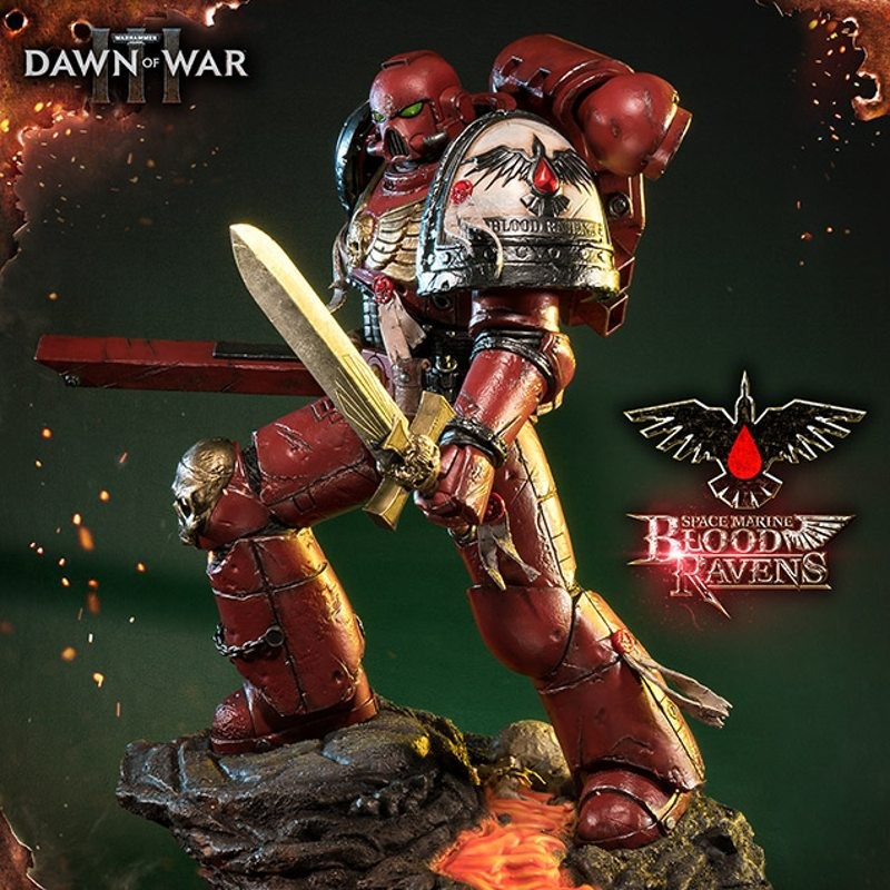 Space Marine Blood Ravens - Warhammer 40K Dawn of War III - Polystone Statue