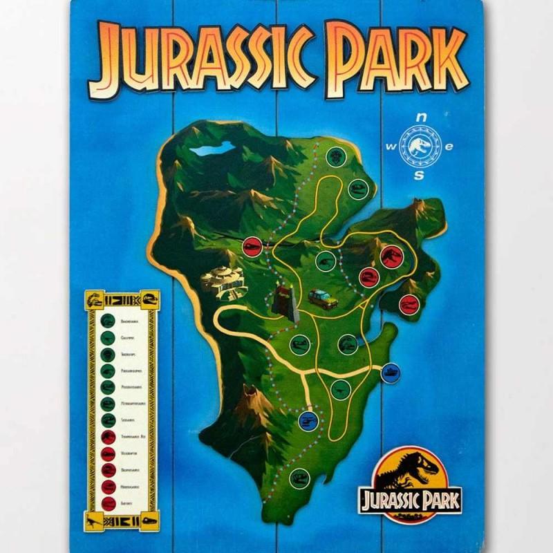 Isla Nublar - Jurassic Park - 3D Holzdruck 30 x 40 cm