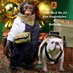 Chimpanzee and Bulldog - 1/6 Scale Statue