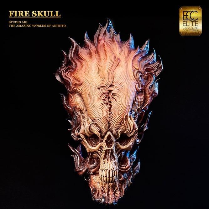 Aki's Fire Skull - Polystone Büste