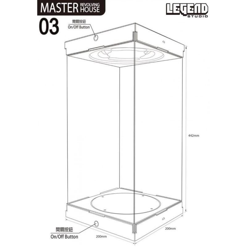 Master Revolving House 03 (schwarz) - Acryl Display Case mit Beleuchtung und Drehbühne