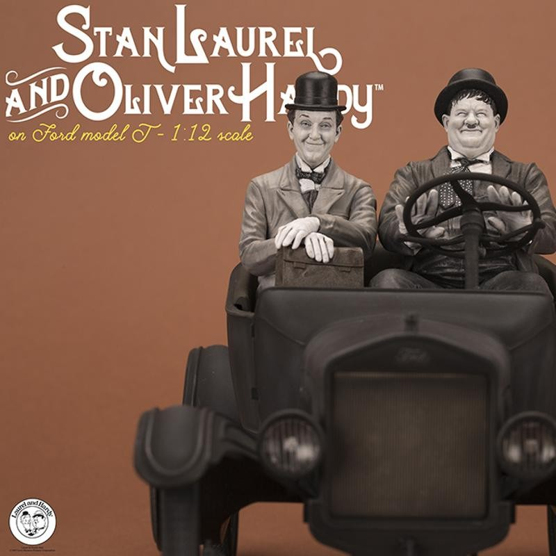 Laurel & Hardy on Model T - Old&Rare - 1/12 Scale Resin Statue