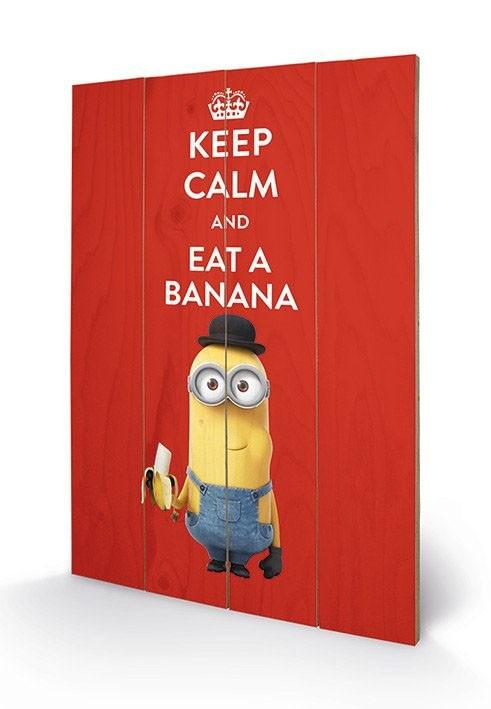 Keep Calm - Minions - Holzdruck 40 x 60 cm