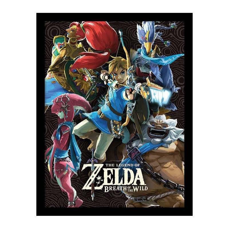 Divine Beasts Collage - Zelda - Poster im Rahmen