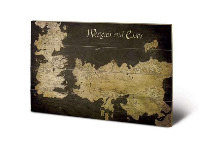 Westeros And Essos - Game of Thrones - Holzdruck 40 x 60 cm