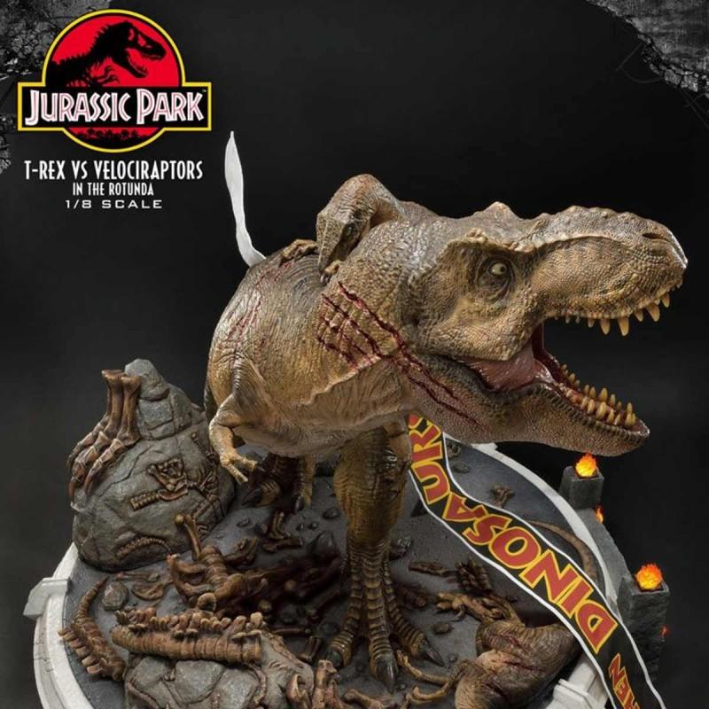 T-Rex vs Velociraptors in the Rotunda - Jurassic Park - 1/8 Scale Polystone Diorama