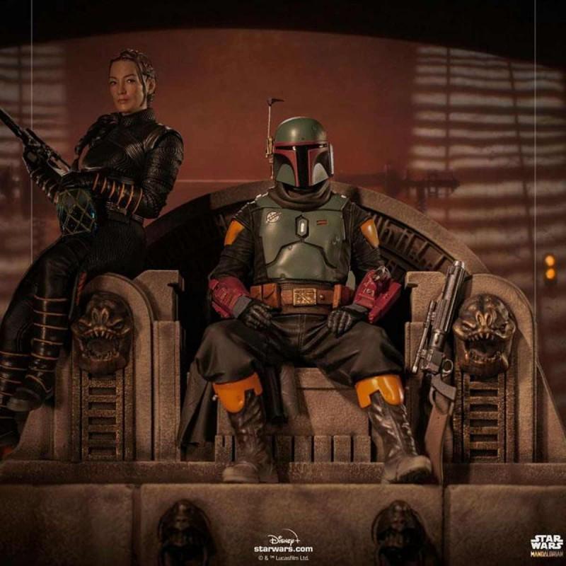 Boba Fett & Fennec on Throne - Star Wars The Mandalorian - Deluxe Art Scale 1/10 Statue-Copy