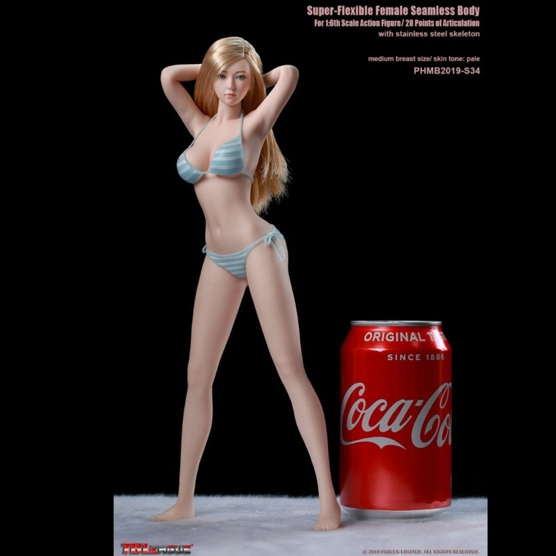 Super-Flexible Female Seamless Body S34 (With Head) - 1/6 Scale Body