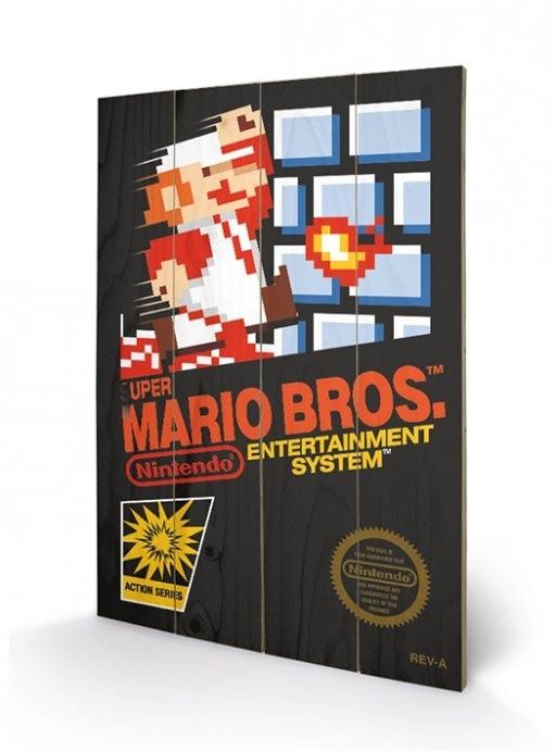 Nes Cover - Super Mario Bros. - Holzdruck 40 x 60 cm