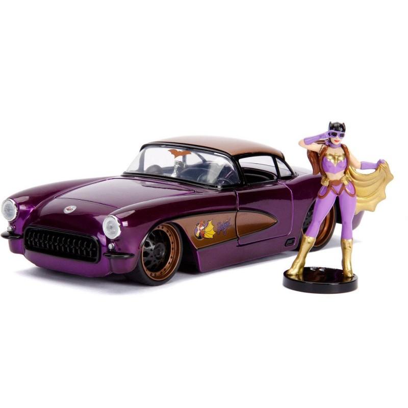 1957 Chevy Corvette mit Batgirl Figur - DC Bombshells - Diecast Modell 1/24