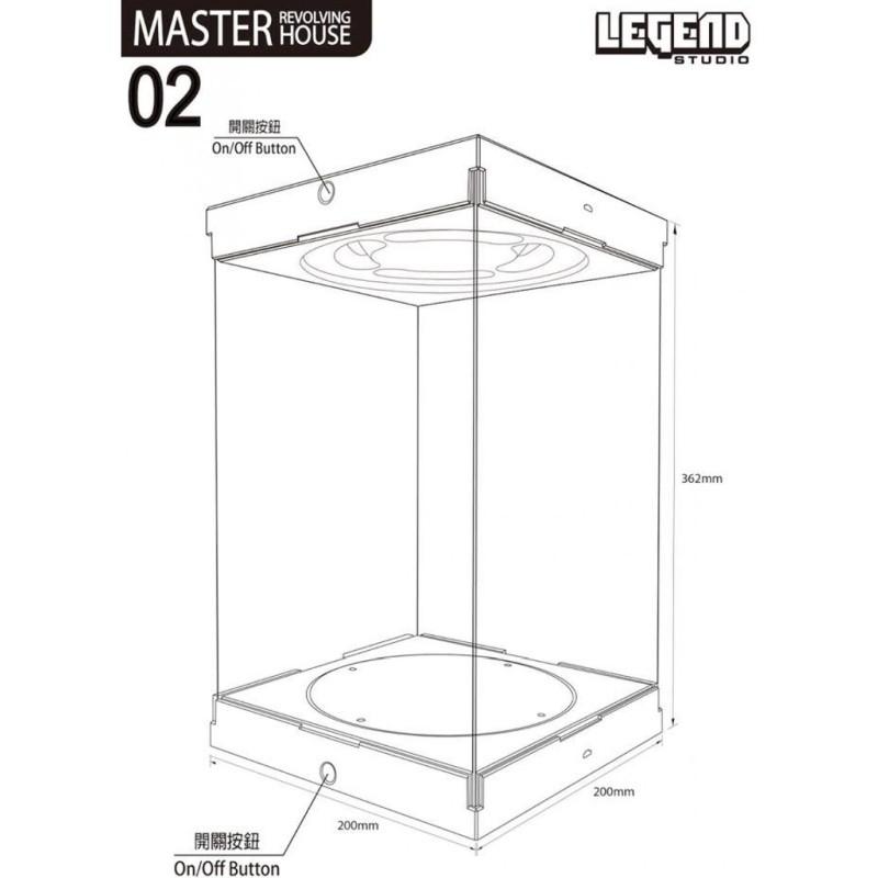 Master Revolving House 02 (schwarz) - Acryl Display Case mit Beleuchtung und Drehbühne