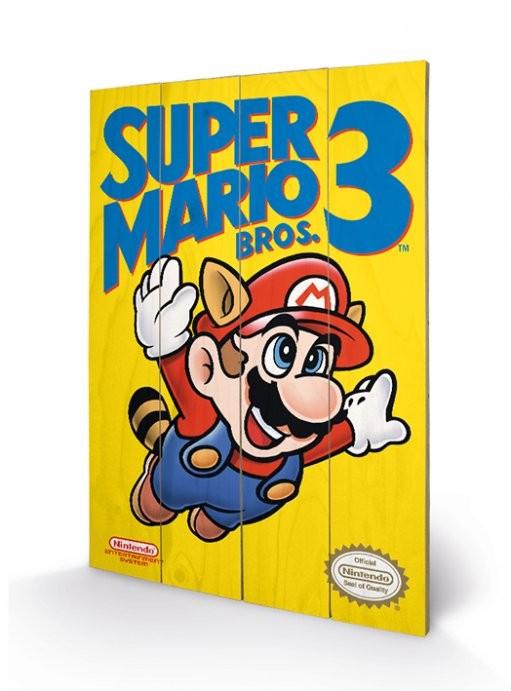 Nes Cover - Super Mario Bros. 3 - Holzdruck 40 x 60 cm